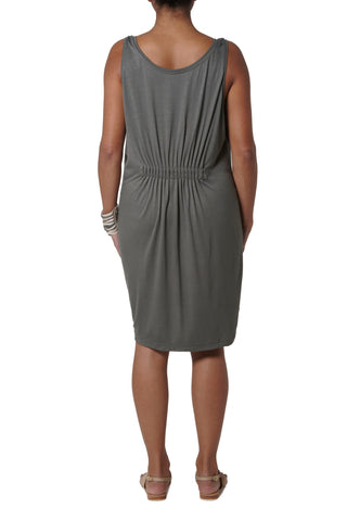 Dress with elastic detail at back - Khaki