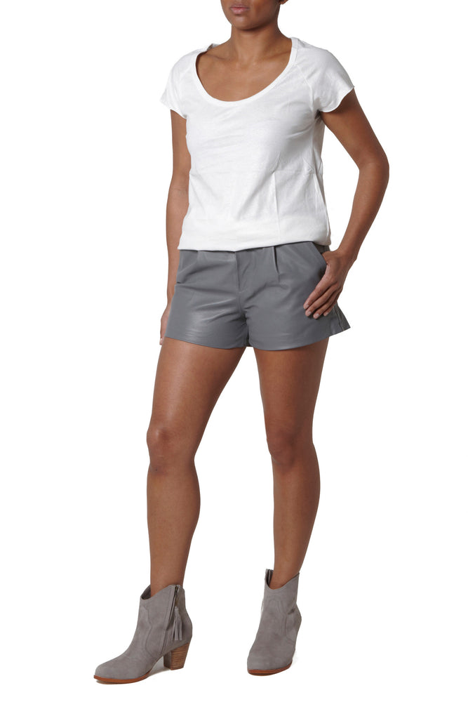 Leather Shorts - Grey