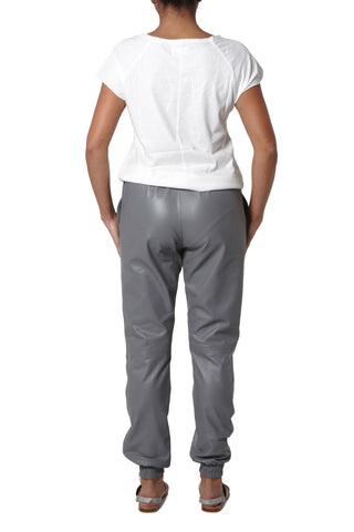 Leather Joggers - White