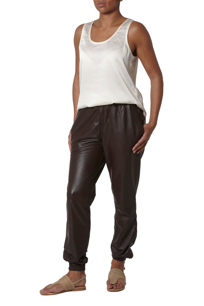 Leather Joggers- Chocolate brown