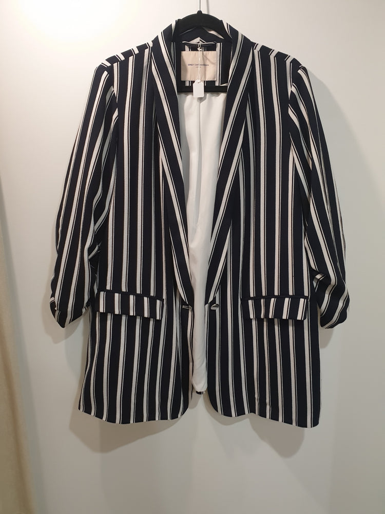 Oversized stripy blue and white jacket