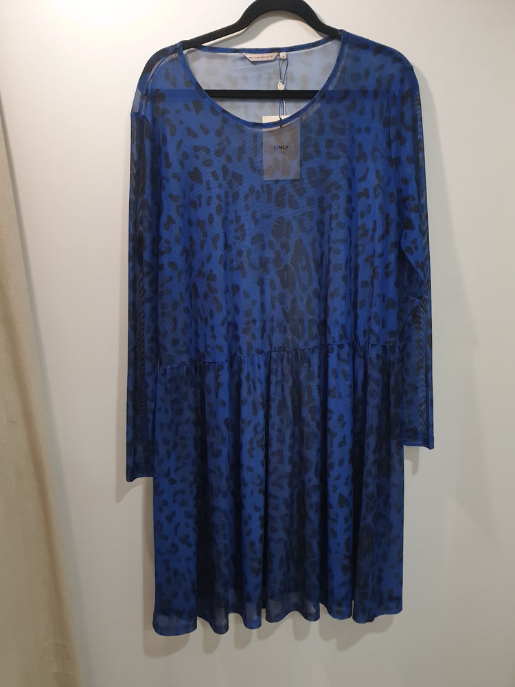 Sheer Blue Leopard print dress sz 14-16