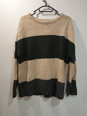 Knitted jumper grey green cream