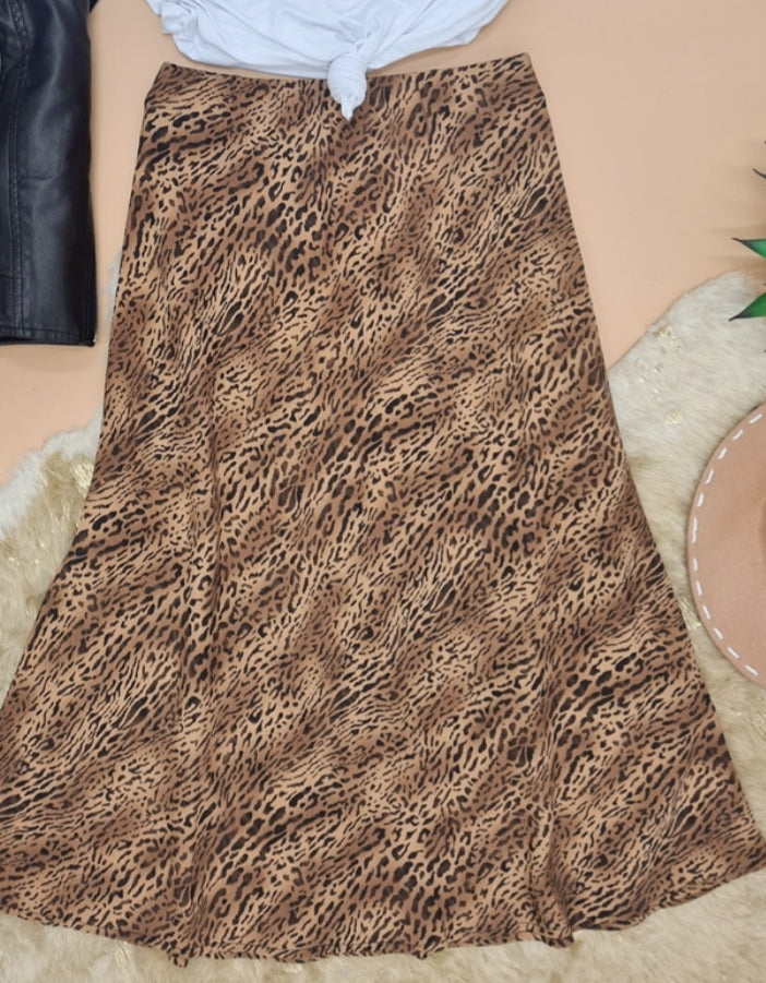 Brown Leopard Skirt