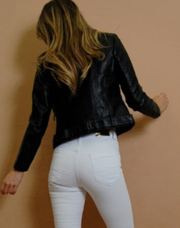 Biker Faux Leather Jacket- Black
