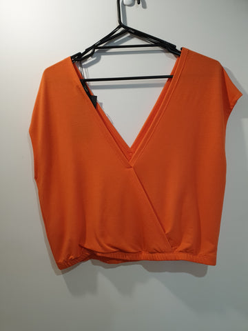 short sleeve bright orange top