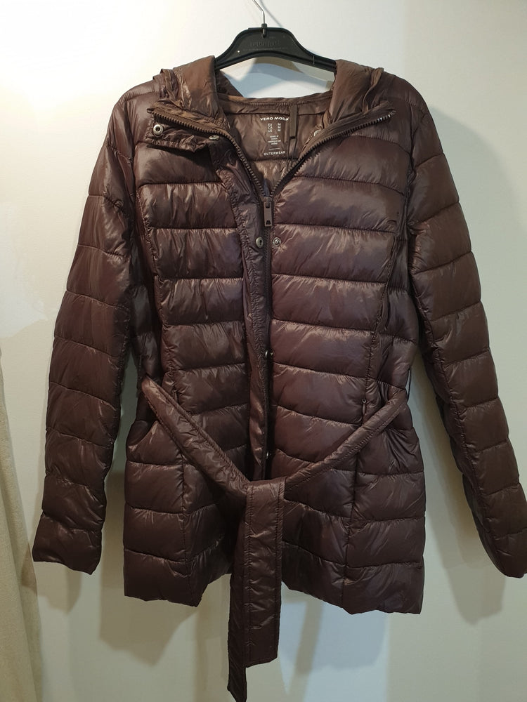 Long Light weight puffer jacket with hood- Chocolate brown