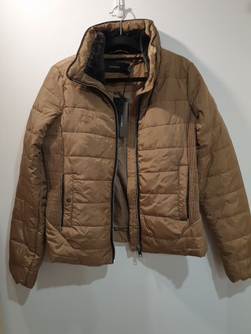 Dark Beige Puffer jacket with leather details