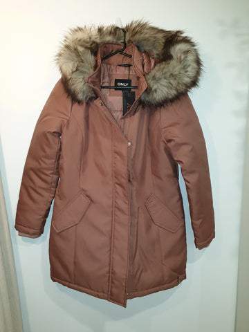 Long Parka with removable hood - dusty pink