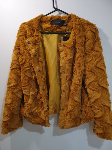 Faux Fur Curly Jacket- Gold