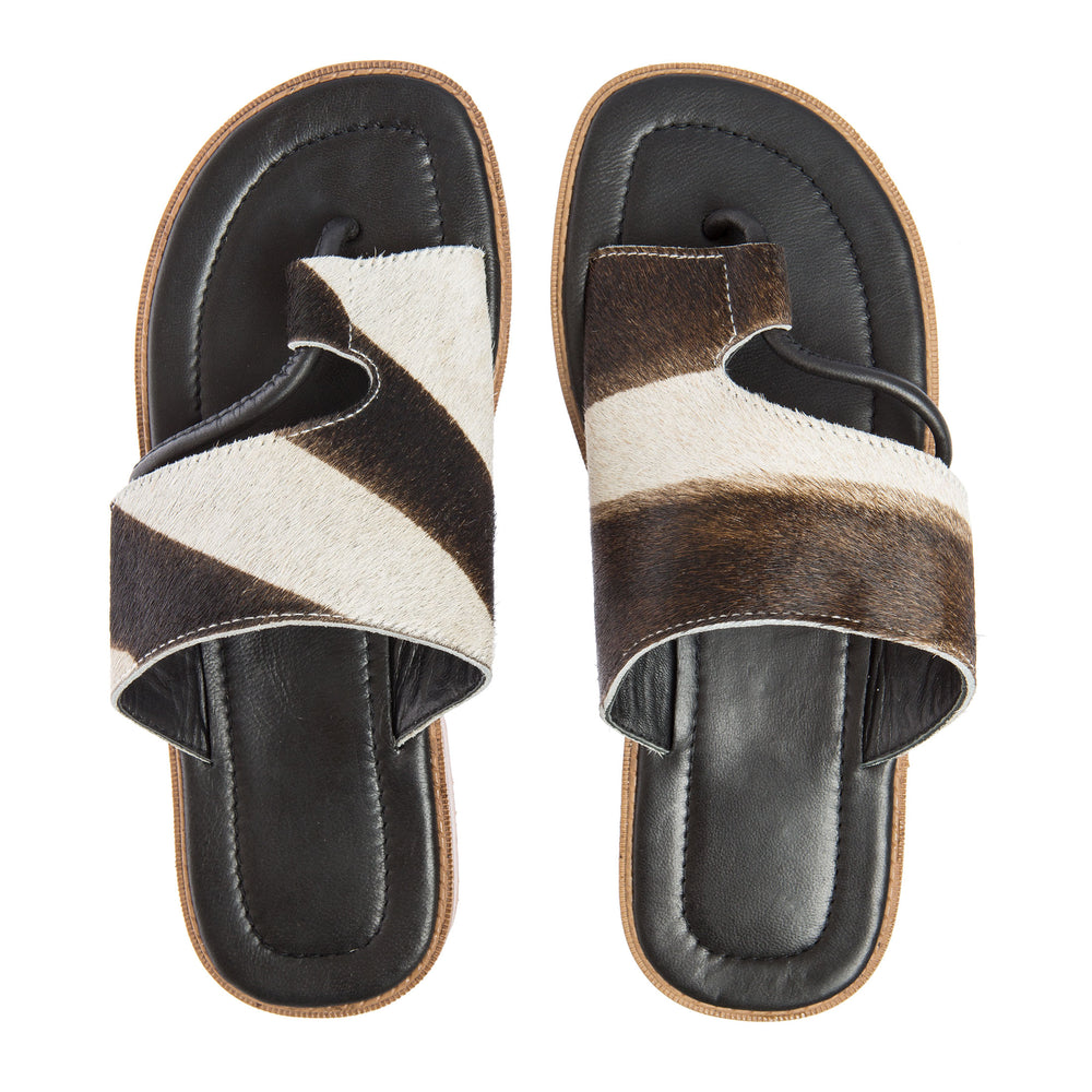 "Leather Sandals "" Hairy"" Cow"
