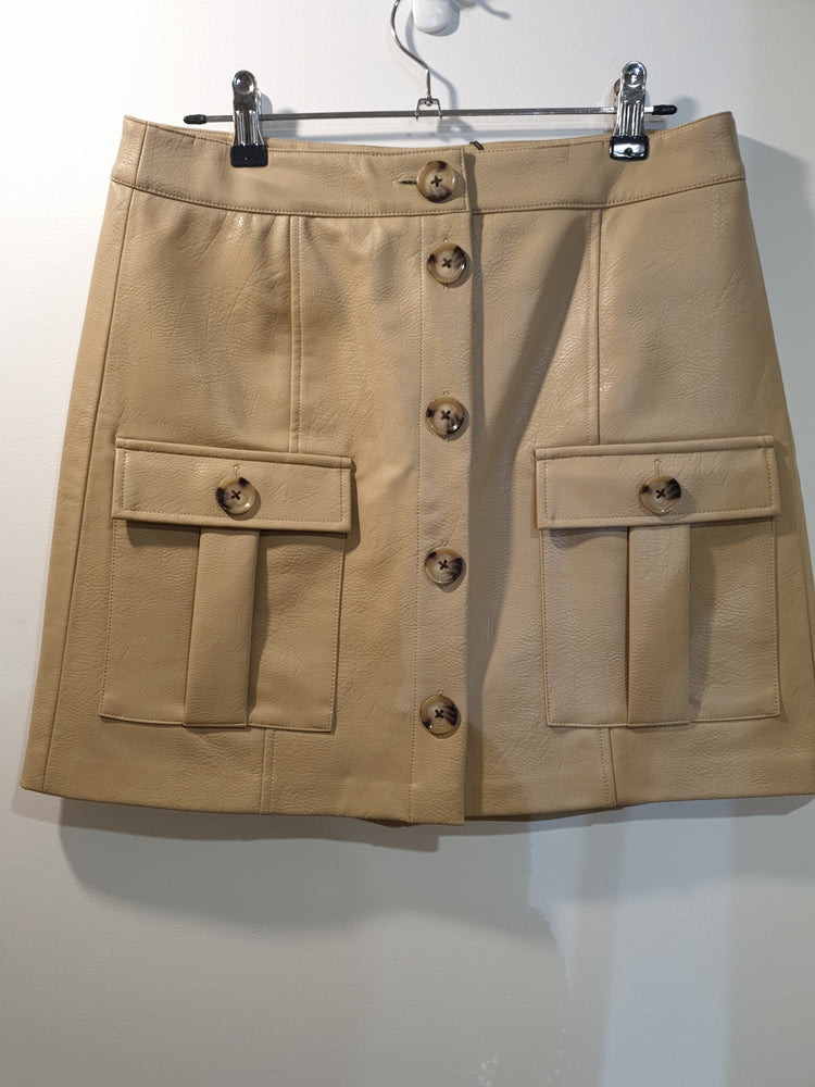 Faux Leather look beige skirt