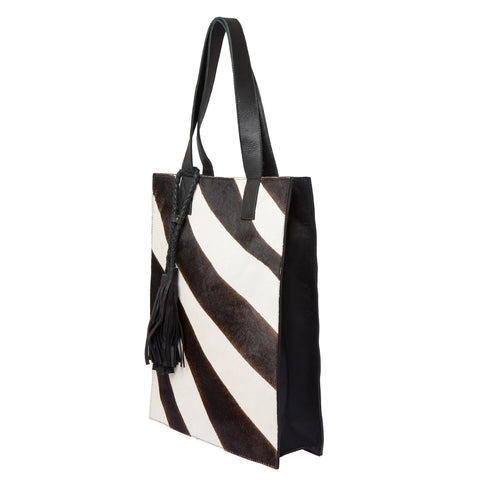 Tiger Cow leather bag- Brown/Black