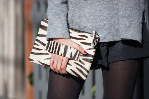 Leather Clutch- Zebra