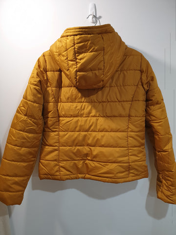 Puffer Jacket short with hood- dark honey