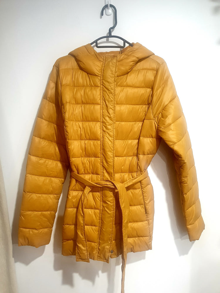 Long Light weight puffer jacket - dark yellow