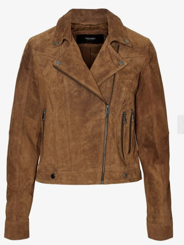 Real Leather Biker Jacket - Tan
