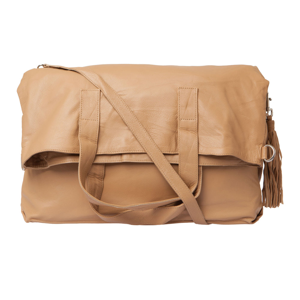 Fold Over Two Way Bag - Tan