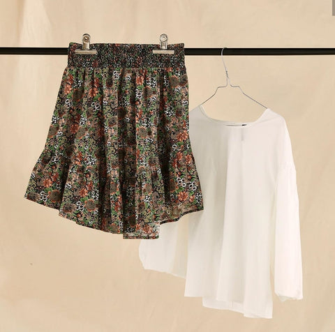 Cute autumn printed skirt in organic cotton