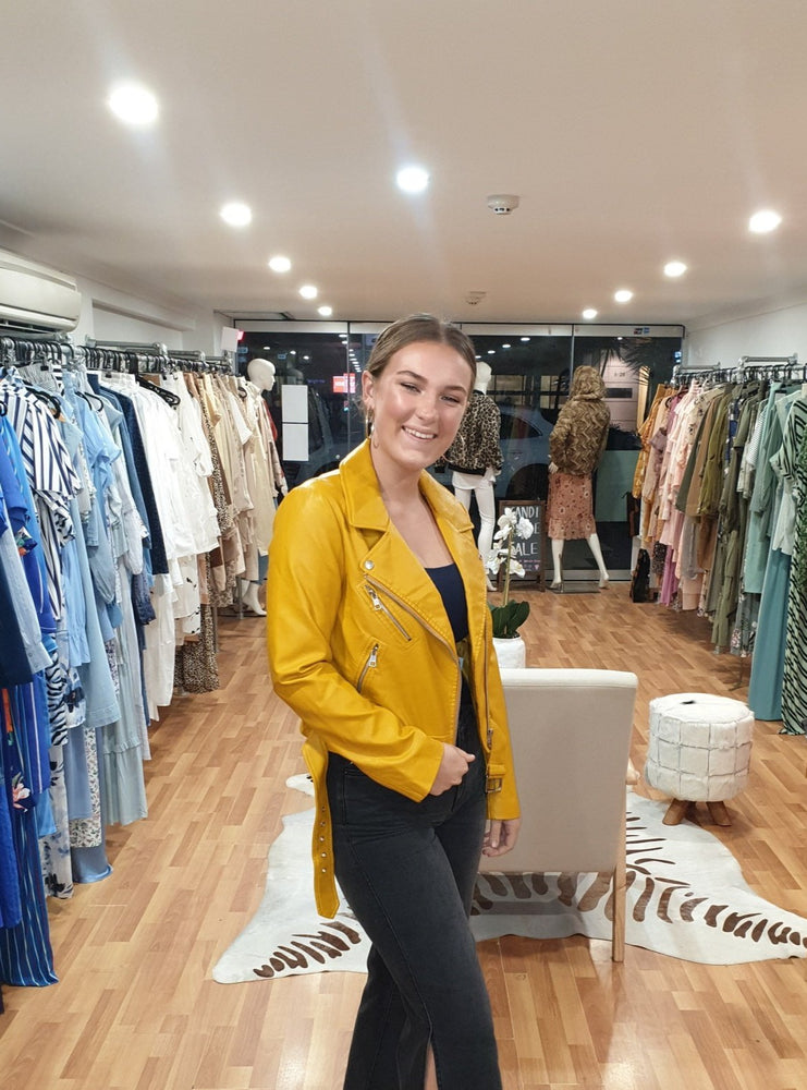 Yellow Biker Faux Leather jacket, vegan