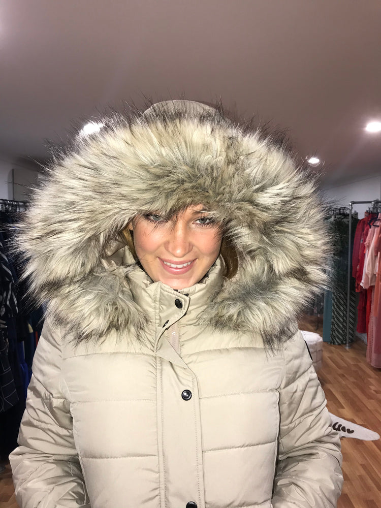 Beige Puffer Jacket with removable hood