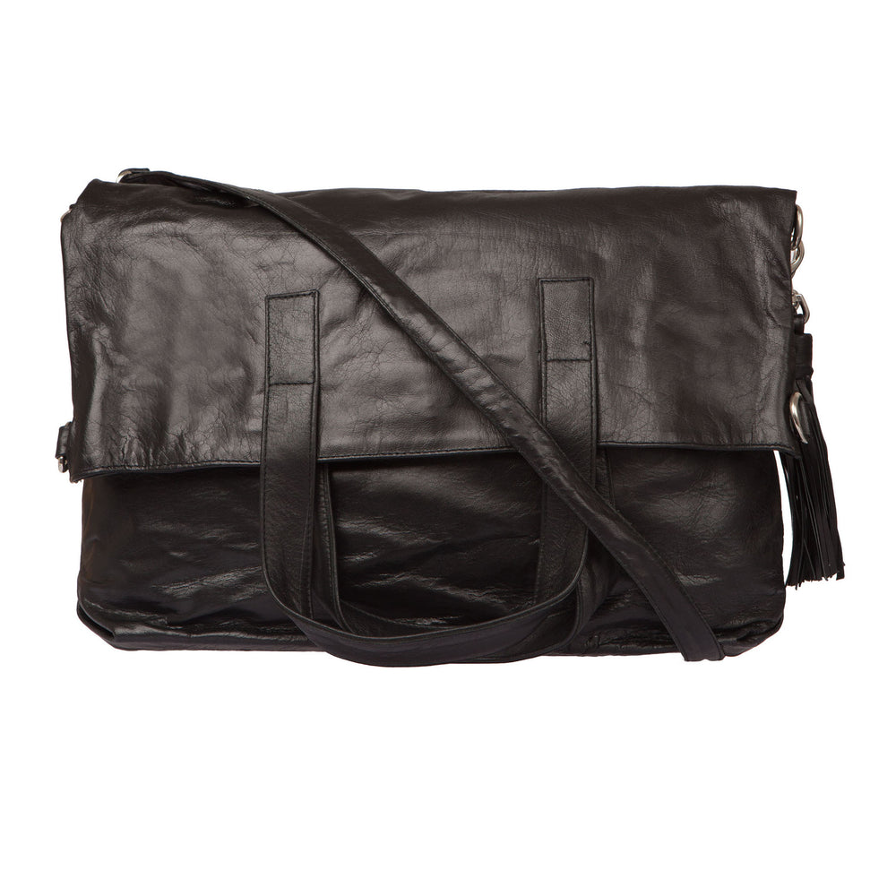 Fold Over Two Way Bag - Black