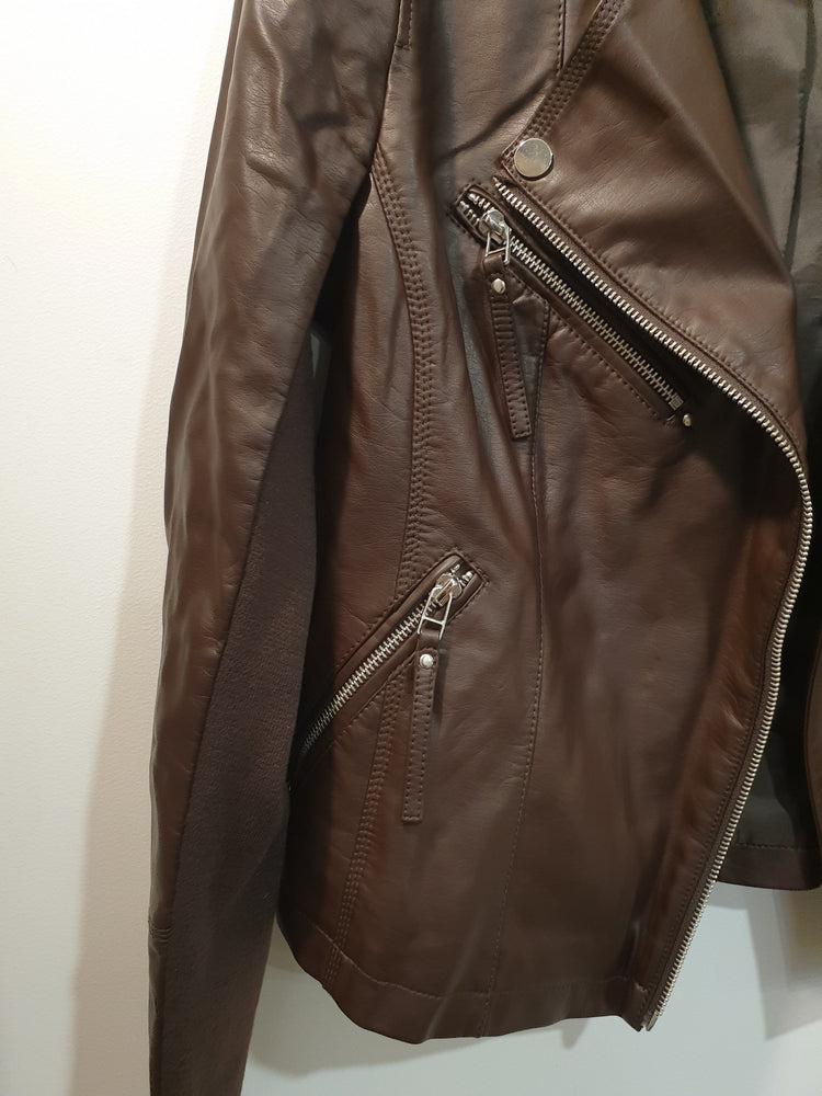 Leather Faux Biker Jacket - Chocolate