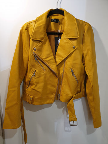 Faux leather dark yellow jacket