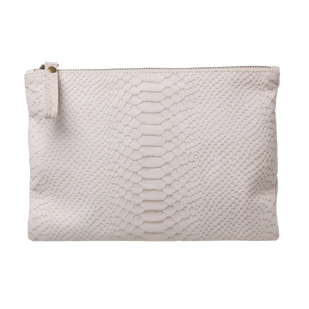 Leather Clutch- Crocodile look