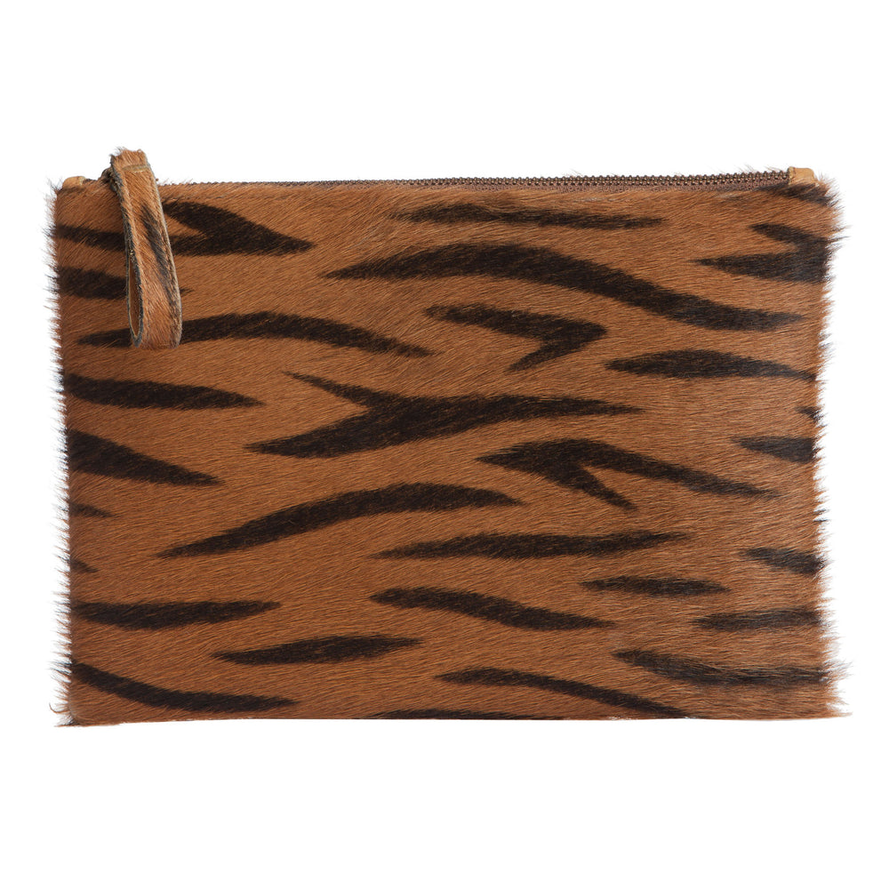 Leather Clutch- Tiger