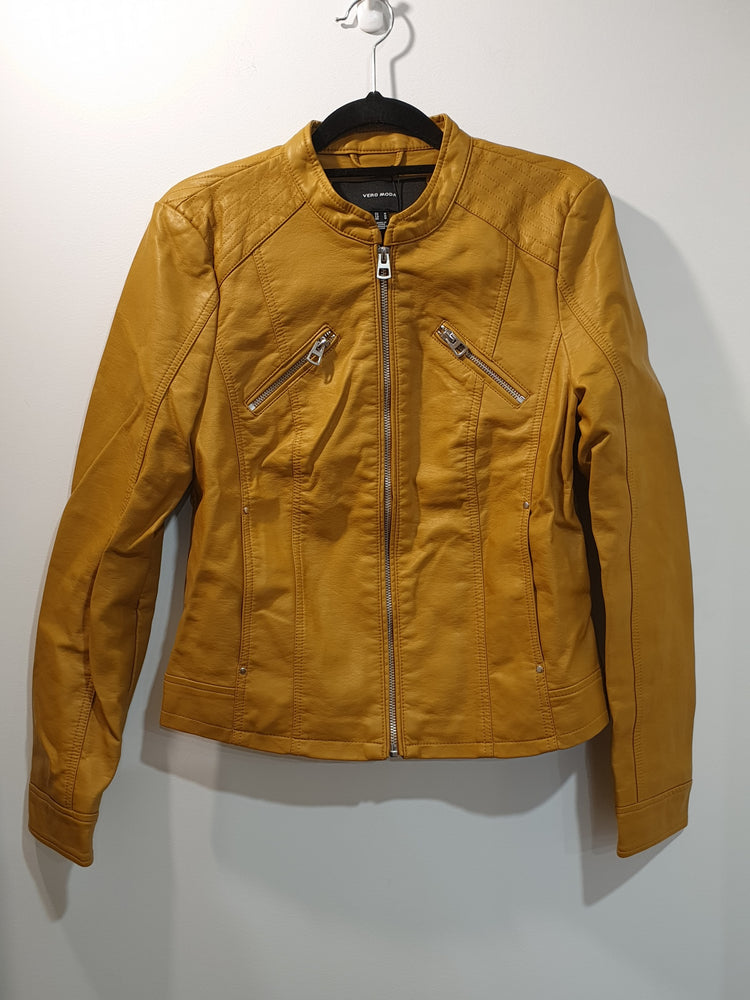Biker Faux Leather Jacket Mustard