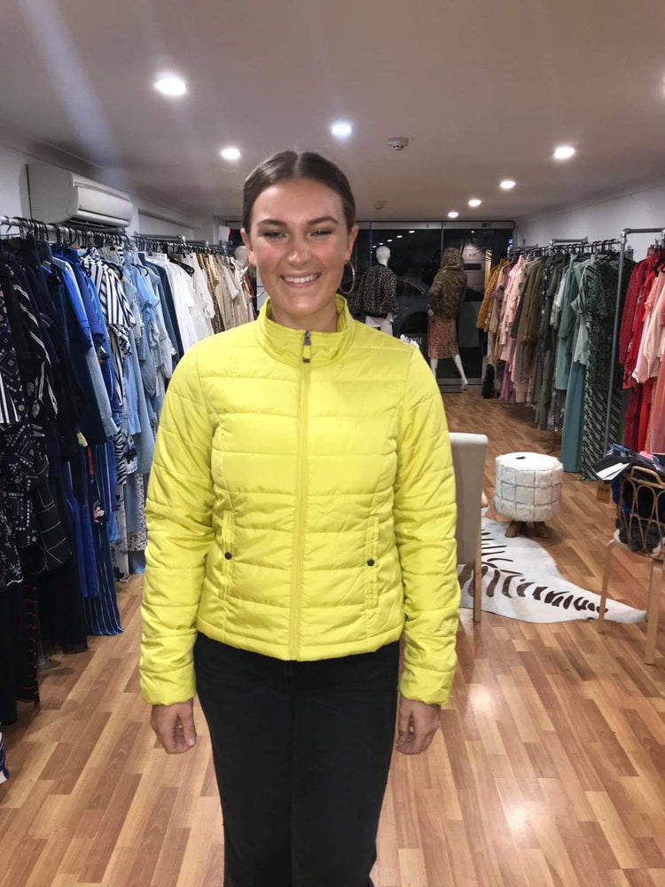 Bright Yellow Puffer jacket light weight