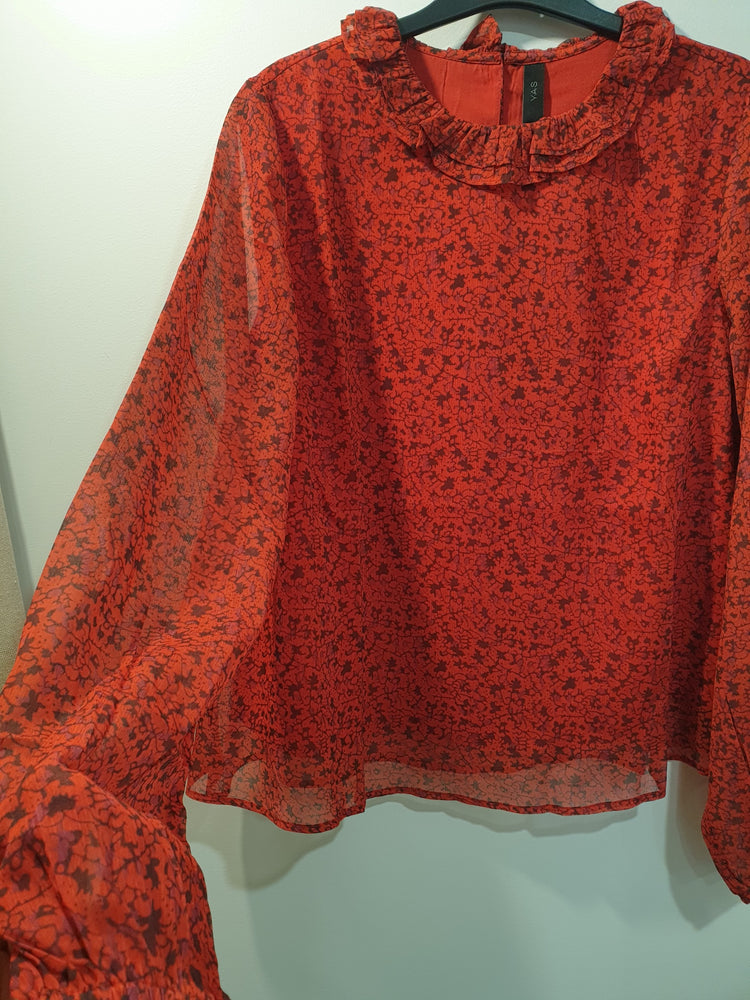 Red beautiful top with chiffon long sleeves