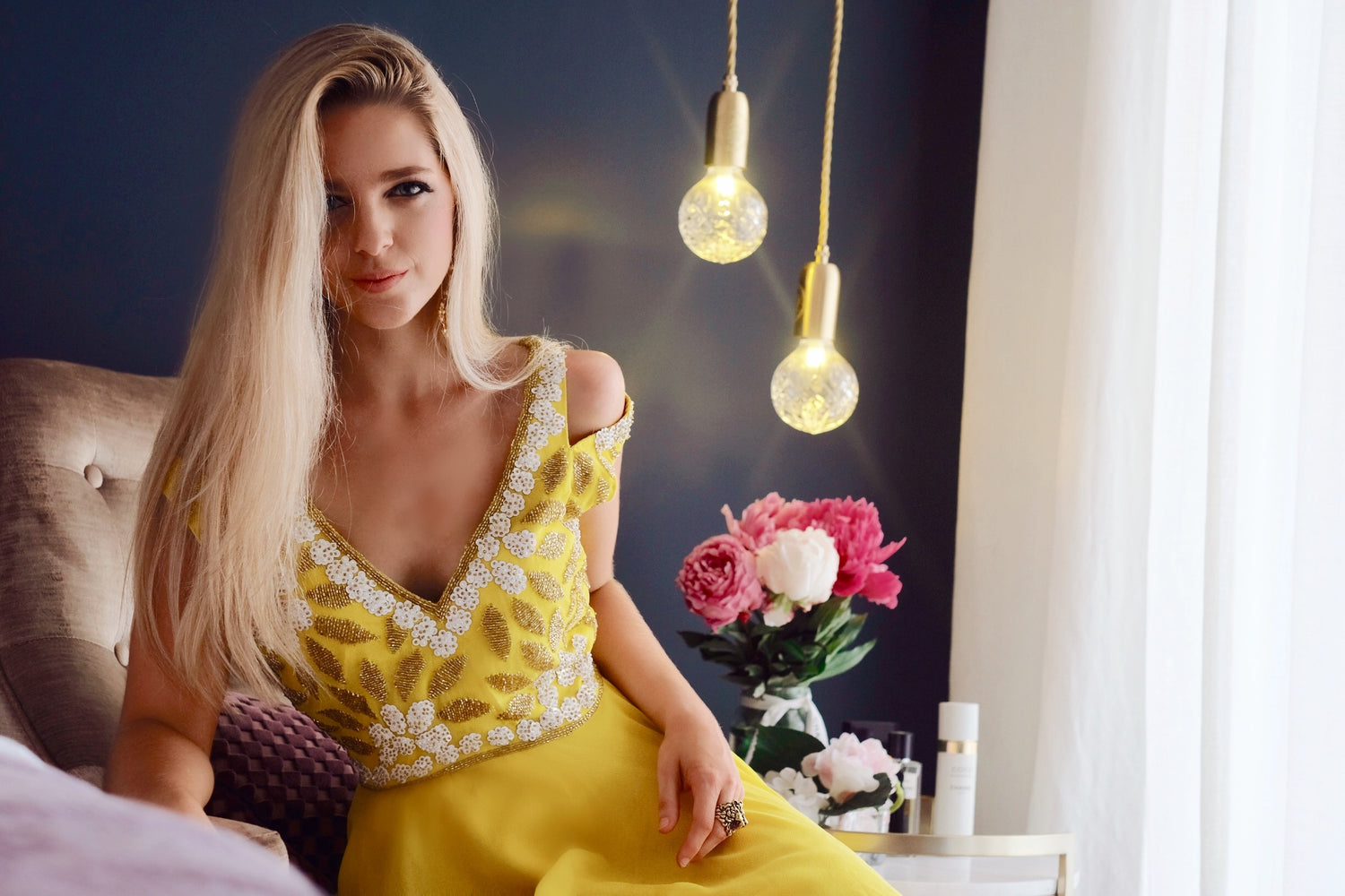 Yellow Short Sequin dress