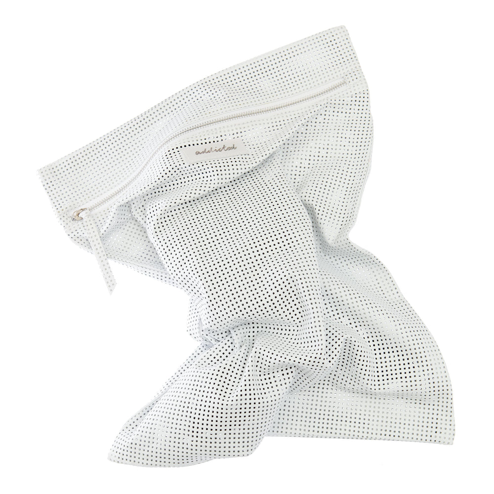 Mesh Bag Perforated Soft Lamb Leather - White.