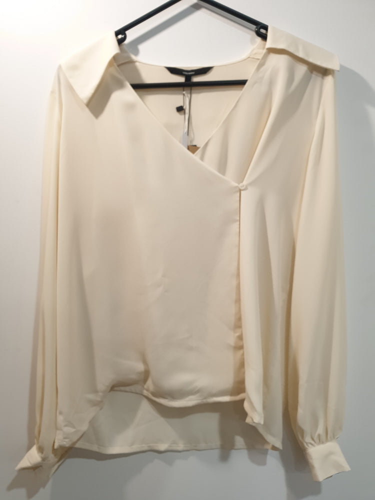 Cream v-neck stylish  blouse