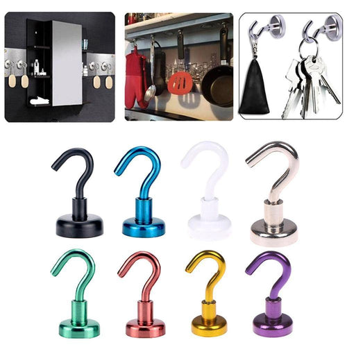 Magnetic Hooks Powerful Hook Magnet Holder 10kg Suction Wall Hook Holder Support Hardware Magnetic Tool Silver