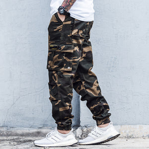 Tiger Stripe Print Camouflage Cargo Pants Mens Safari Trousers Streetwear Multiple Pockets Men Jogger Military Tactical Pants