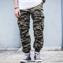 Load image into Gallery viewer, Tiger Stripe Print Camouflage Cargo Pants Mens Safari Trousers Streetwear Multiple Pockets Men Jogger Military Tactical Pants