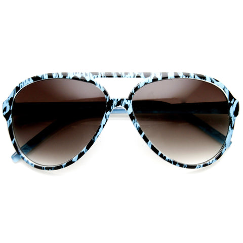 Womens Retro Colorful Cheetah Print Spotted Aviator Sunglasses 9392