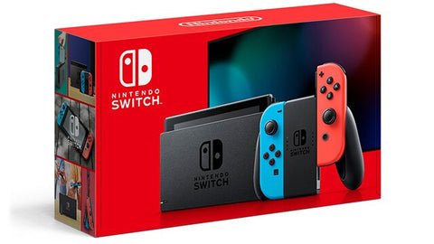Nintendo Switch + Pokemon Sword Game BUNDLE V2 80% More Battery – Neon Red and Blue
