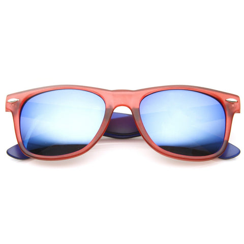 Retro Random Color Mirror Lens Horned Rim Sunglasses 8650