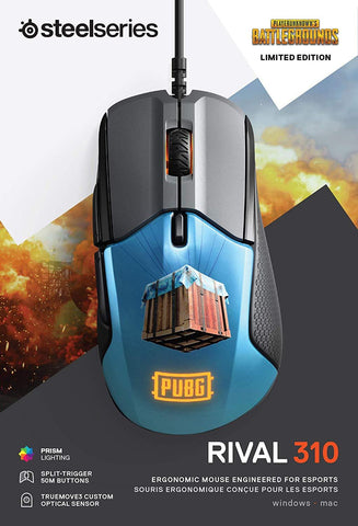 SteelSeries Rival 310 PUBG Edition Gaming Mouse - 12,000 CPI TrueMove3 Optical Sensor - Split-Trigger Buttons - RGB Lighting