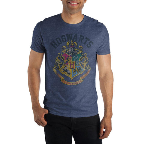 Harry Potter Hogwarts Crest and Motto Draco Dormiens Nunquam Titillandus Men's Blue T-Shirt