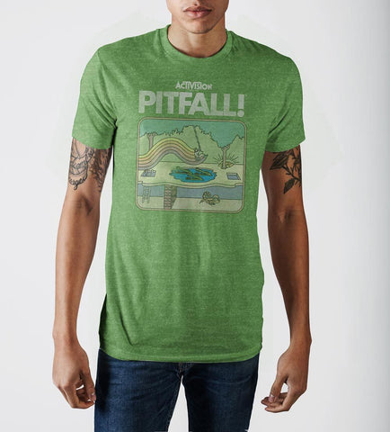 Pitfall Harry Vintage Game Cover Green Heather T-shirt