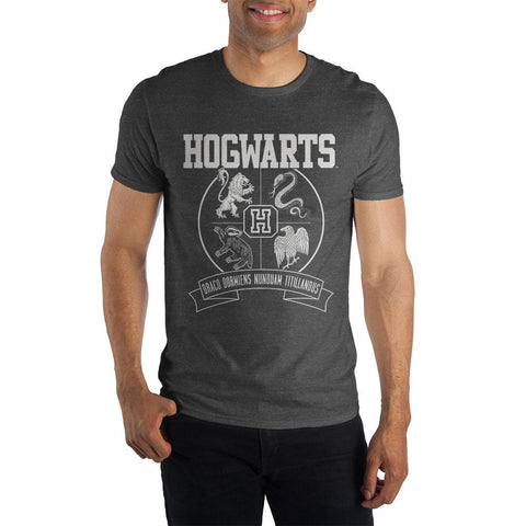 Harry Potter Hogwarts Crest and Motto Draco Dormiens Nunquam Titillandus Men's Dark Gray T-Shirt