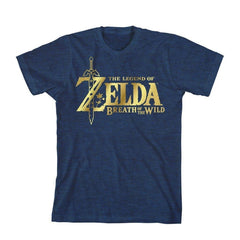 The Legend of Zelda Breath of the Wild Logo Youth Blue Tshirt