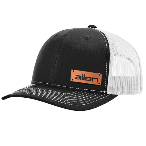 Black Allen Leather Patch Hat - Full Sleeve (24 Hats)