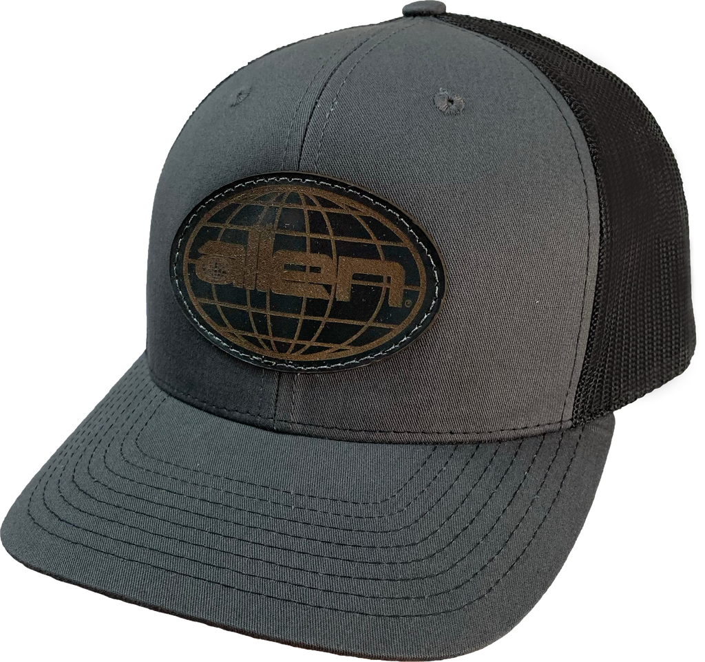 Black Allen Globe Leather Patch- Full Sleeve (24 Hats)