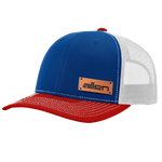 Red / White / Blue Allen Leather Patch Hat - Full Sleeve (24 Hats)